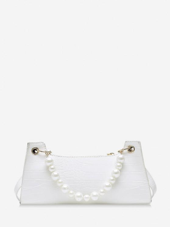 shops Faux Pearl Animal Embossed Underarm Shoulder Bag - WHITE