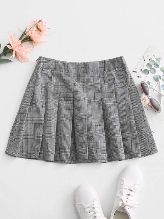 best ZAFUL Glen Check Mini Pleated Skirt - GRAY XL