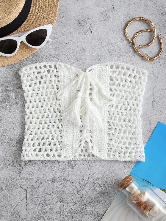 shop Lace-up Tassel Crochet Bandeau Beach Top - WHITE L