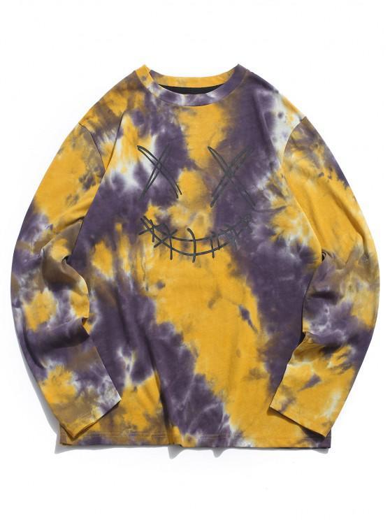 outfits ZAFUL Face Figure Print Tie Dye T Shirt - DEEP YELLOW L