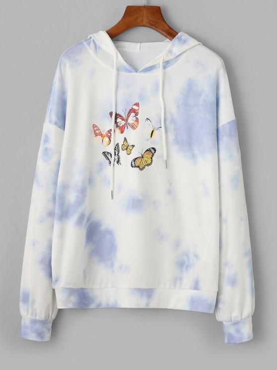 ZAFUL Tie Dye Butterfly Pattern Drop Shoulder Hoodie - متعددة-A S