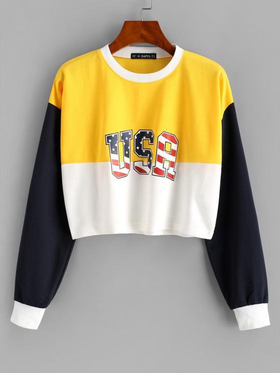 trendy Colorblock USA American Flag Crop Sweatshirt - YELLOW S