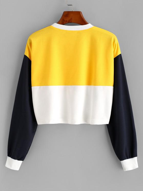 Colorblock USA American Flag Crop Sweatshirt - Yellow S   ZAFUL