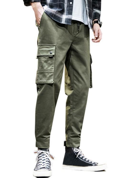 Pantalones de Carga con Dobladillo de Aplique de Gancho - Ejercito Verde XL