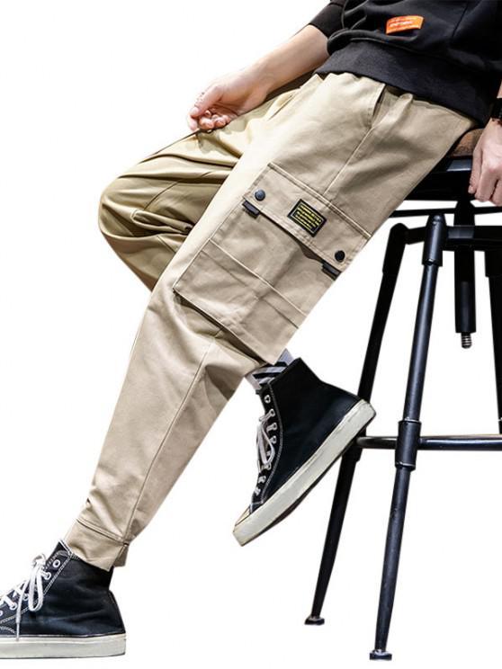 Pantalones de Carga con Dobladillo de Aplique de Gancho - Caqui XL