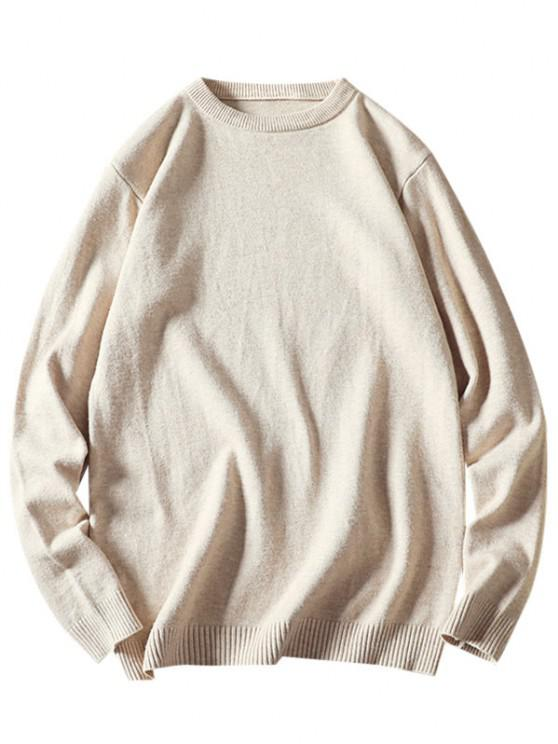 best Crew Neck Plain Pullover Sweater - WHITE XS