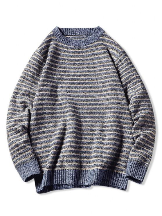 chic Crew Neck Striped Pattern Sweater - BLUE XS