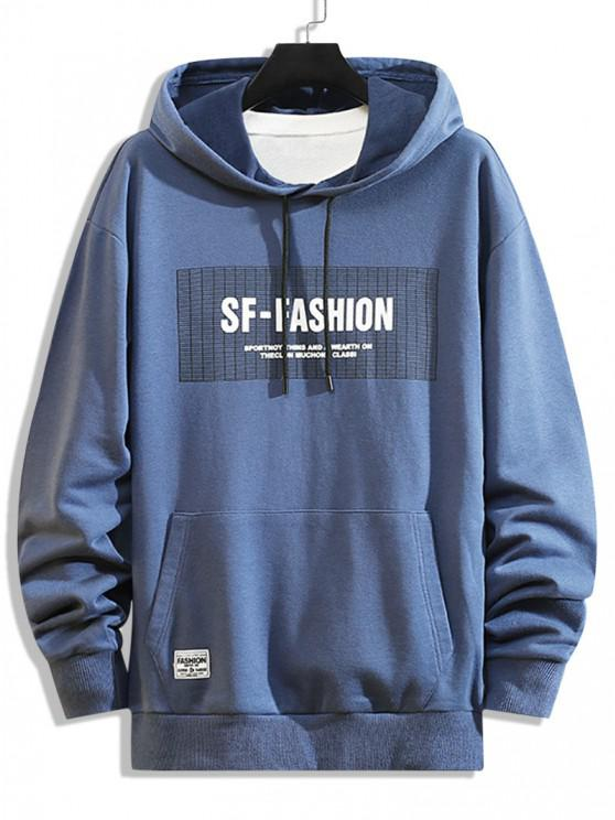 sale Letter Pattern Front Pocket Hoodie - BLUEBERRY BLUE XS