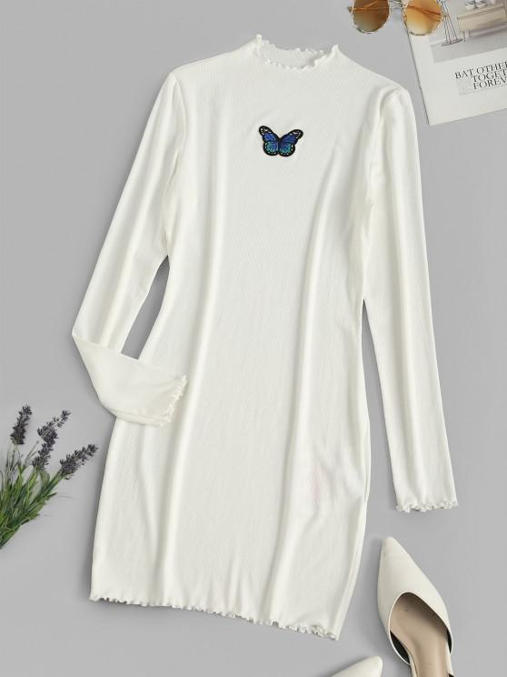 affordable ZAFUL Ribbed Butterfly Applique Lettuce Trim Dress - WHITE L