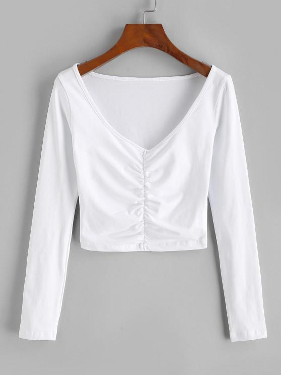 Camiseta de Colheita com Babados Cortado - Branco L