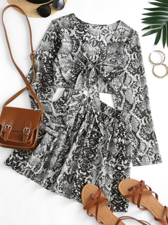 Snakeskin Tie Front Mini Skirt Set - اللون الرمادي M