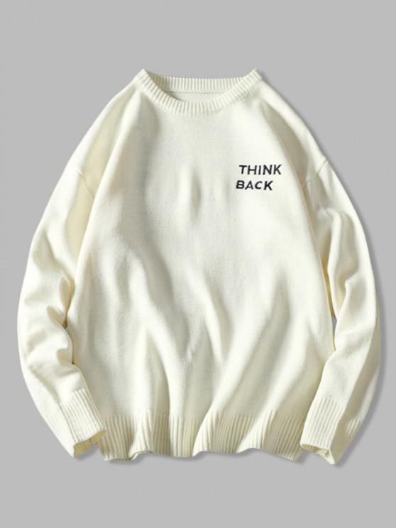 Letter Sketch Embroidered Drop Shoulder Sweater - أبيض 2XL