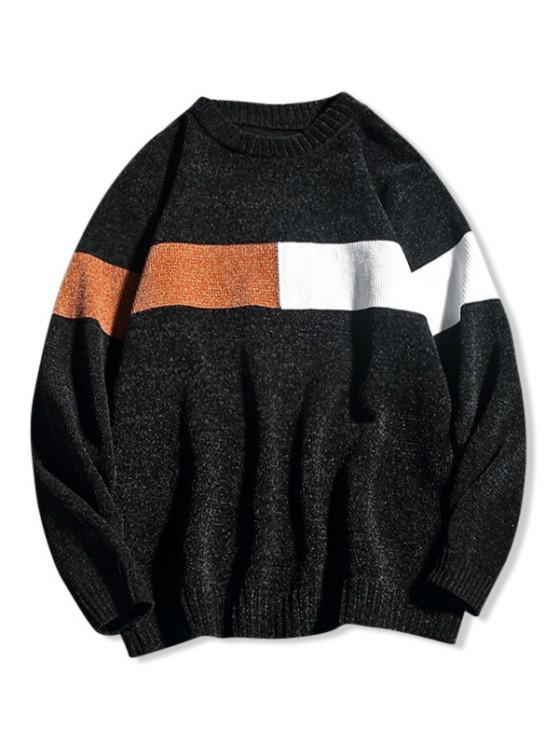 Contrast Crew Neck Kapuze Sweater - Schwarz XS