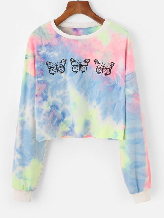 fancy Zaful Tie Dye Butterfly Print Drop Shoulder Casual Sweatshirt - MULTI-B S
