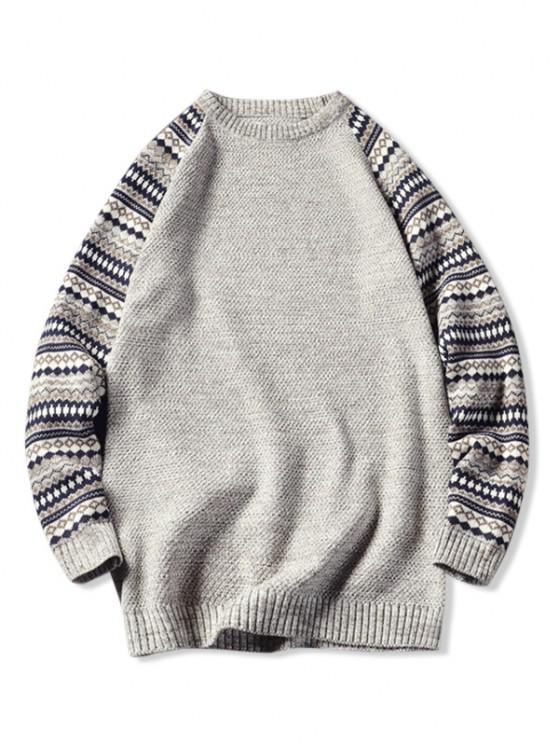 ladies Tribal Pattern Raglan Sleeve Sweater - BEIGE S