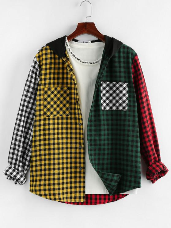 women's ZAFUL Colorblock Plaid Pattern Pocket Long Sleeve Shirt - MULTI XL