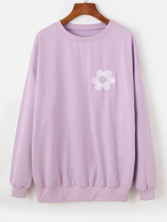 ZAFUL Flower Embroidered Drop Shoulder Oversized Sweatshirt - ضوء ارجواني L