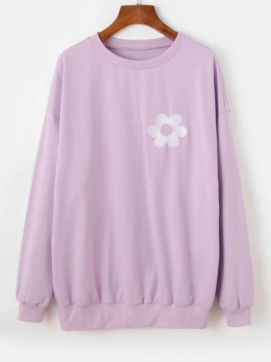 affordable ZAFUL Flower Embroidered Drop Shoulder Oversized Sweatshirt - LIGHT PURPLE M