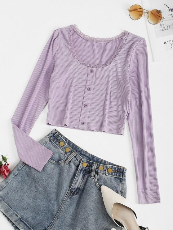 shop ZAFUL Lace Insert Mock Button Ribbed Crop T-shirt - MAUVE L