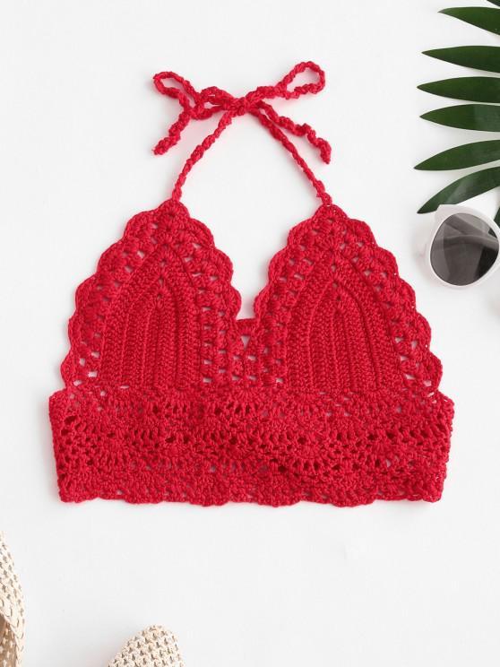 Tie Back Crochet Bralette Bikini Top - أحمر L