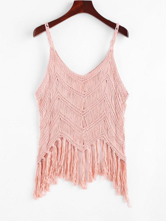affordable Fringed Crochet Beach Top - LIGHT PINK ONE SIZE