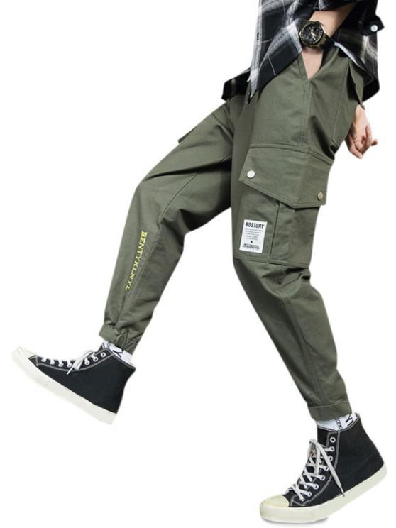 Letter Embroidery Hook Loop Hem Pencil Cargo Pants - الجيش الأخضر M