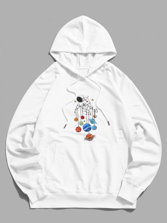 Planet and Astronaut Graphic Drawstring Pouch Pocket Hoodie - أبيض XL