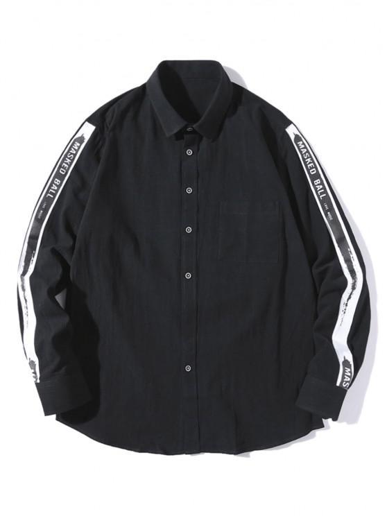 sale Letter Strap Button Up Leisure Shirt - BLACK XS