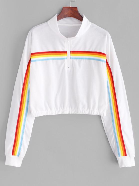Rainbow Striped Zip picătură Umăr Sweatshirt - alb M