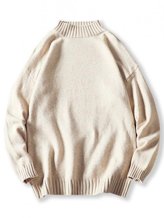 Stehkragen Hängender Schulter Pullover - Weiß XS