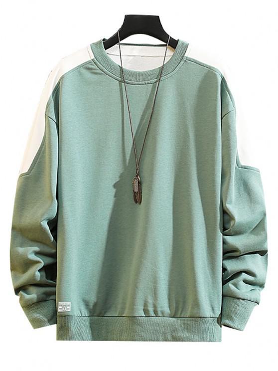 Color Blocking Panel Crew Neck Pullover Sweatshirt - متوسطة الفيروز XS
