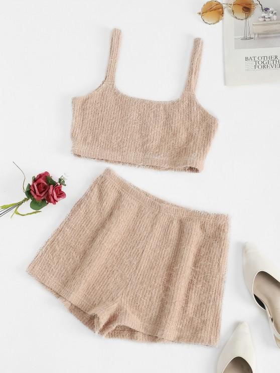 ladies ZAFUL Fuzzy U Neck Loose Pajama Shorts Set - KHAKI ROSE S