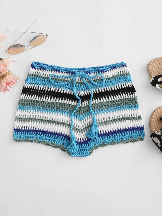 ladies Colorful Crochet Tassel Beach Shorts - LIGHT BLUE M