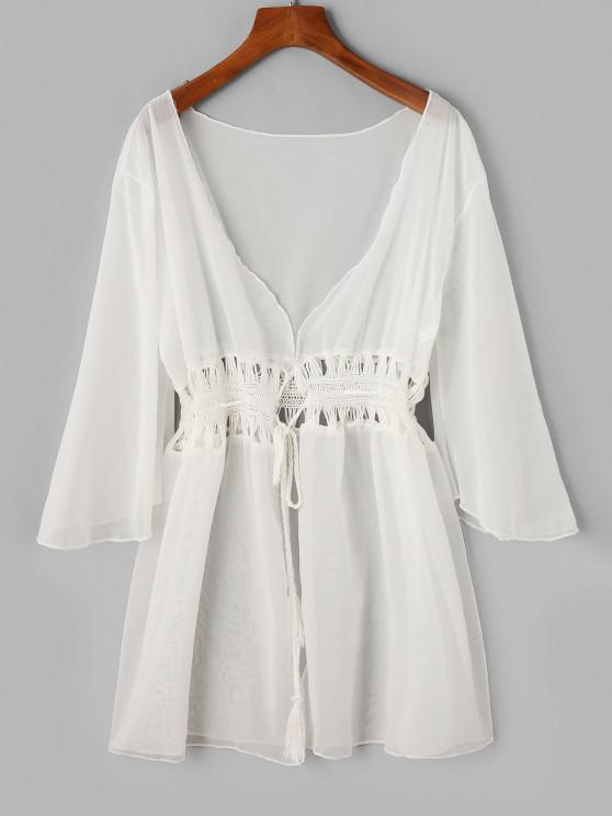 buy ZAFUL Sheer Tassel Crochet Panel Tie Front Cover-up - WHITE ONE SIZE