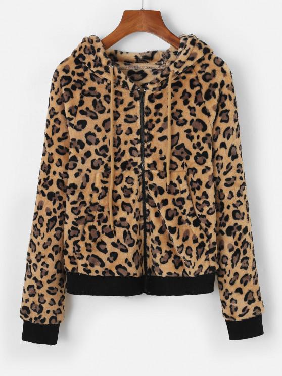 Leopard Kunstpelz Kapuze Reißverschluss Tasche Jacke - Licht Kaffee M