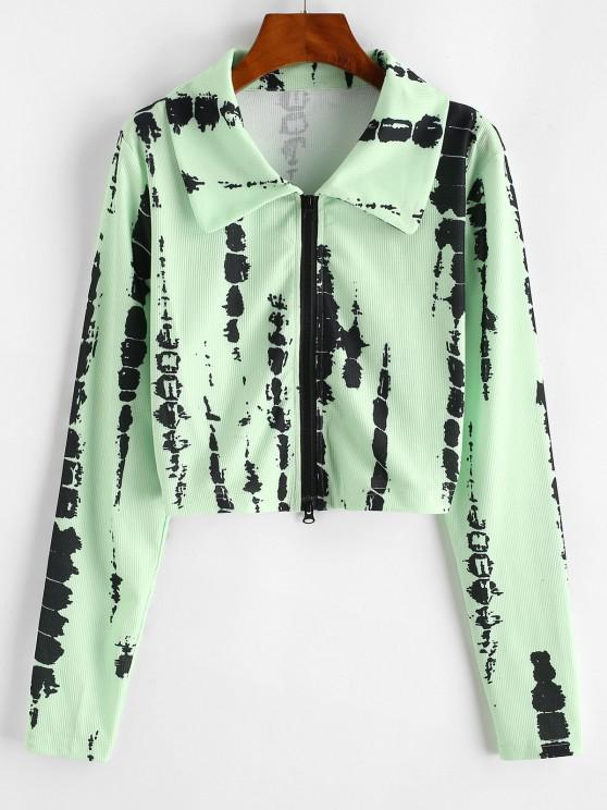 fashion Ribbed Tie Dye Zip Up Cropped Jacket - GREEN M