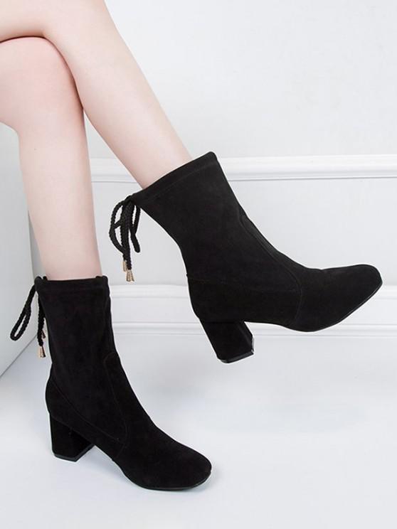 women's Plain Tie Back Chunky Heel Mid Calf Boots - BLACK EU 37