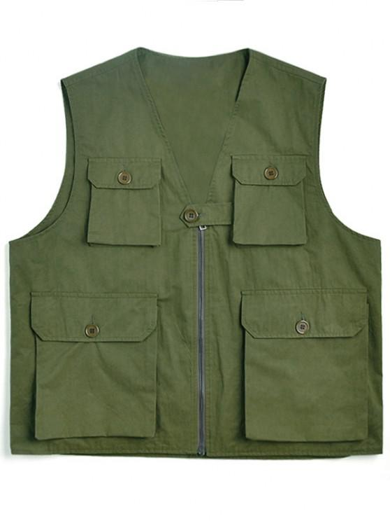 women Solid Multi Flap Pockets Cargo Vest - ARMY GREEN XL