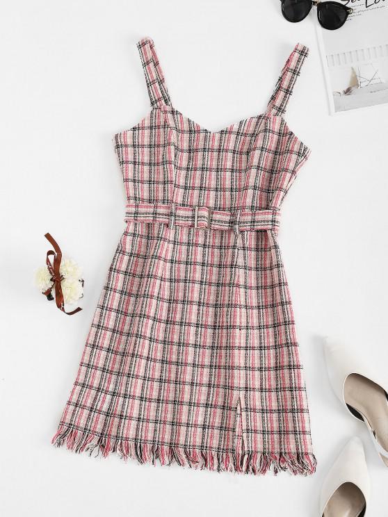lady ZAFUL Tweed Belted Fringed Slit Dress - LIGHT PINK L