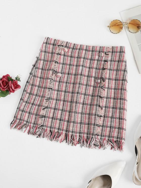 shops ZAFUL Plaid Fringed Tweed Mock Button Skirt - LIGHT PINK M