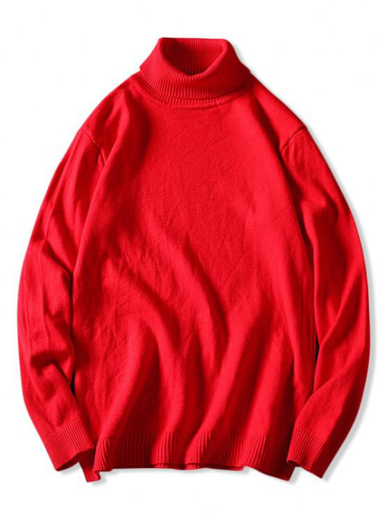 shops Turtleneck Plain Pullover Sweater - RED XS