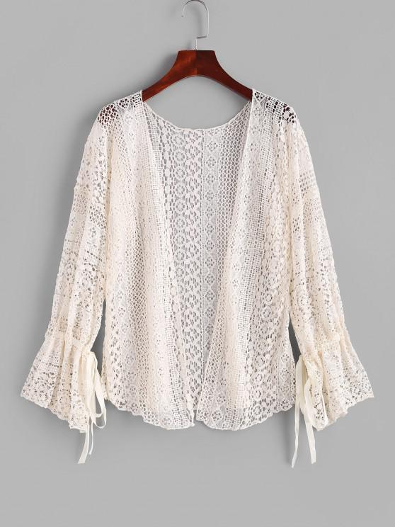 outfit Tie Lace Poet Sleeve Cover-up - LIGHT COFFEE ONE SIZE