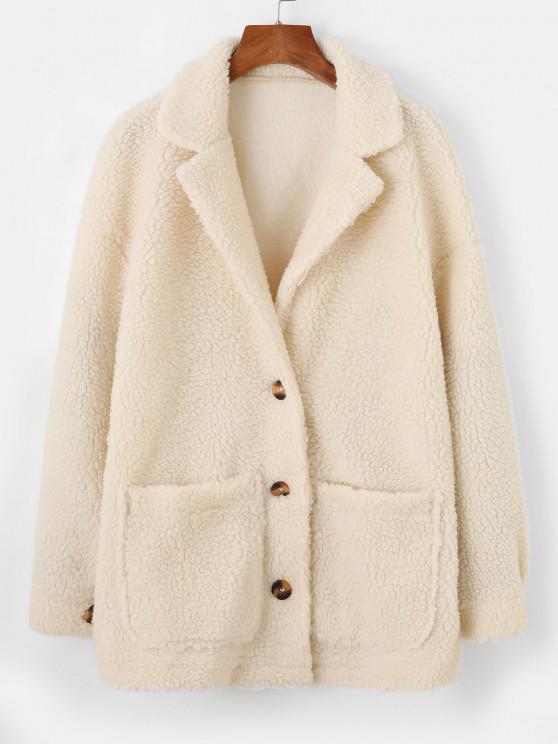 lady ZAFUL Drop Shoulder Pocket Lapel Teddy Coat - WARM WHITE S
