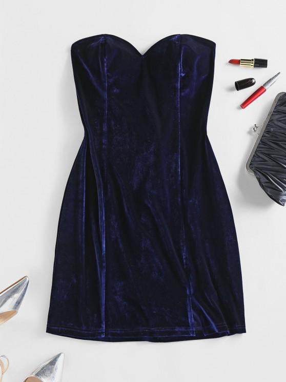 latest ZAFUL Velour Lace Up Strapless Dress - DEEP BLUE M