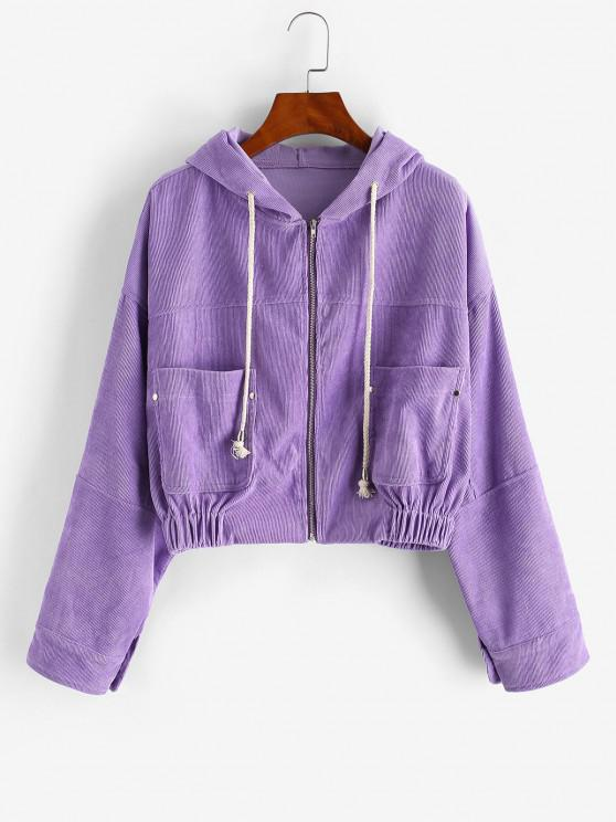 outfits Zip Up Hooded Pockets Corduroy Jacket - PURPLE S