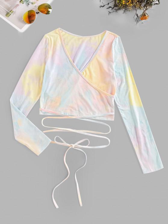 womens ZAFUL Crisscross Tie Dye Surplice Crop Tee - MULTI-A XL