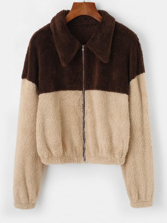 buy ZAFUL Two Tone Bicolor Faux Fur Zip Jacket - TAN M
