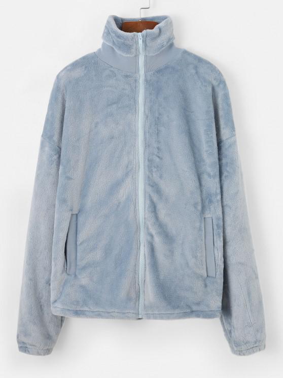 Faux Fur Drop Shoulder Pocket Zipper Coat - أزرق فاتح M