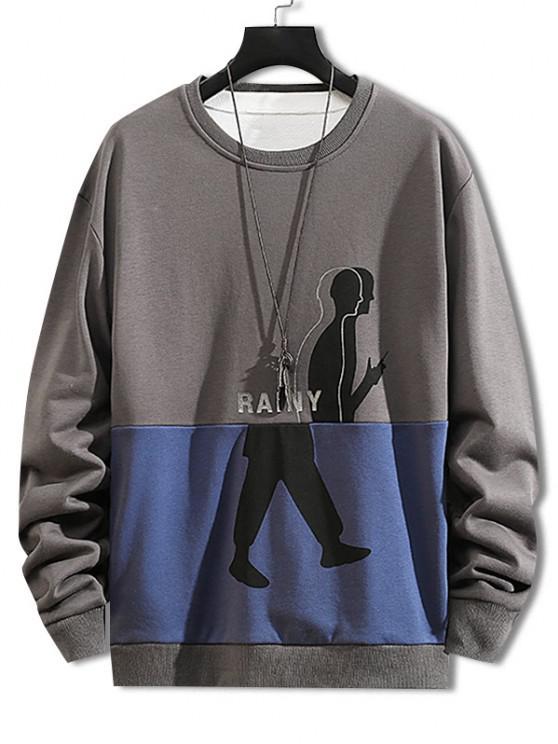 Rainy Figure Print Two Tone Sweatshirt - اللون الرمادي S