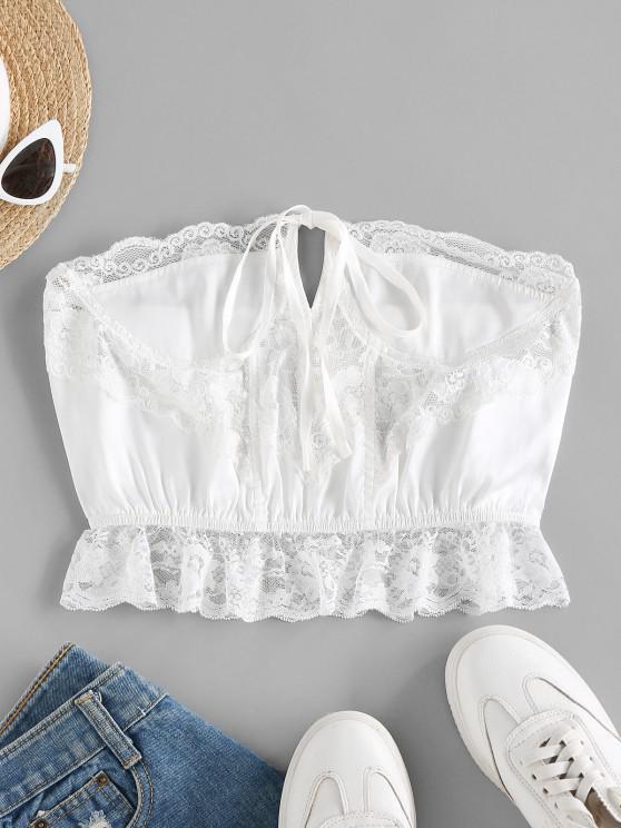 ZAFUL Strapless Lace Insert Lingerie Bralette - أبيض M